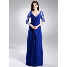 A-Line/Princess Chiffon 1/2 Sleeves V-neck Floor-Length Zipper Up at Side Mother of the Bride Dresses (008006046)