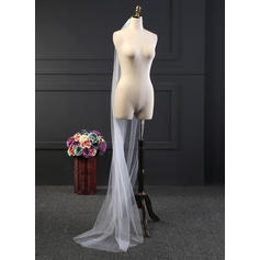 Chapel Bridal Veils Tulle One-tier Drop Veil With Cut Edge Wedding Veils