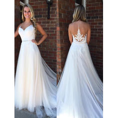 A-Line/Princess Sweetheart Court Train Wedding Dresses With Beading