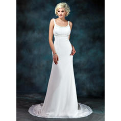 Empire Chiffon Sleeveless Scoop Court Train Wedding Dresses