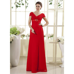 Empire Chiffon Short Sleeves V-neck Floor-Length Zipper Up Mother of the Bride Dresses