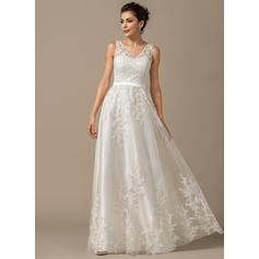 A-Line/Princess Sweetheart Floor-Length Wedding Dresses With Appliques Lace