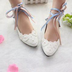 Women's Closed Toe Flats Flat Heel Patent Leather With Lace-up Applique Wedding Shoes