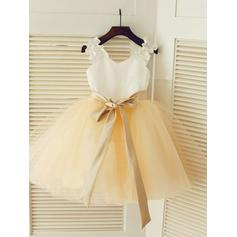 A-Line/Princess Straps Knee-length With Sash Satin/Tulle Flower Girl Dresses