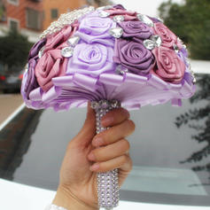 """Bridal Bouquets/Bridesmaid Bouquets Round Wedding/Party Satin 6.69""""(Approx.17cm) Wedding Flowers"""