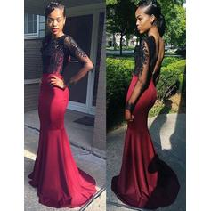Trumpet/Mermaid Scoop Neck Sweep Train Prom Dresses