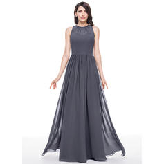 A-Line/Princess Chiffon Bridesmaid Dresses Ruffle Scoop Neck Sleeveless Floor-Length