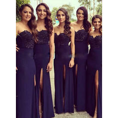 A-Line/Princess Sweetheart Floor-Length Bridesmaid Dresses With Split Front