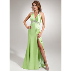 Trumpet/Mermaid Halter Sweep Train Evening Dresses With Ruffle Beading Sequins Split Front (017005605)