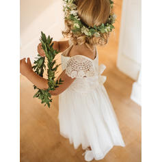 Elegant Square Neckline A-Line/Princess Flower Girl Dresses Ankle-length Chiffon/Lace Short Sleeves
