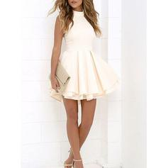 A-Line/Princess High Neck Short/Mini Cocktail Dresses With Ruffle