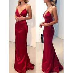 Sheath/Column V-neck Floor-Length Prom Dresses (018218092)