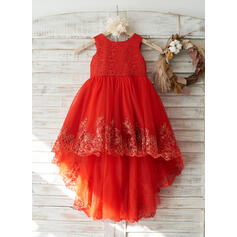 A-Line/Princess Asymmetrical Flower Girl Dress - Tulle/Lace Sleeveless Scoop Neck With Appliques
