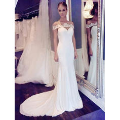 Trumpet/Mermaid Chiffon Sleeveless Scoop Court Train Wedding Dresses