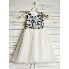 Sexy Scoop Neck A-Line/Princess Flower Girl Dresses Tea-length Tulle Sleeveless