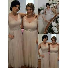 A-Line/Princess Tulle Bridesmaid Dresses Ruffle Beading Sequins V-neck Sleeveless Floor-Length