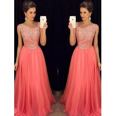 A-Line/Princess Scoop Neck Floor-Length Prom Dresses With Beading (018210933)