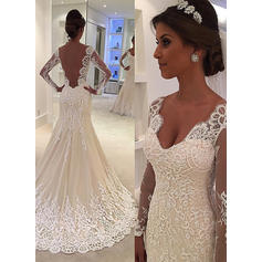 Trumpet/Mermaid Tulle Lace Long Sleeves V-neck Court Train Wedding Dresses