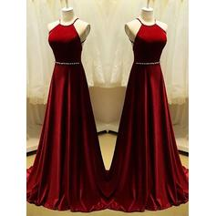 A-Line/Princess Scoop Neck Sweep Train Prom Dresses With Beading