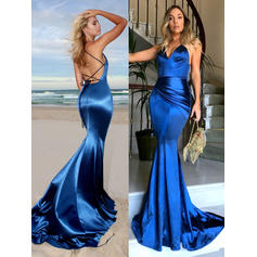 Trumpet/Mermaid V-neck Court Train Charmeuse Prom Dresses With Ruffle