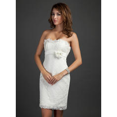Sheath/Column Strapless Short/Mini Lace Cocktail Dresses With Beading Flower(s) Cascading Ruffles