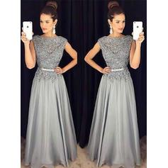 A-Line/Princess Scoop Neck Floor-Length Prom Dresses With Sash Beading Appliques Lace