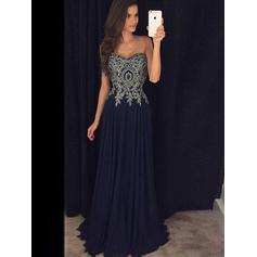 A-Line/Princess Sweetheart Floor-Length Evening Dresses With Appliques Lace