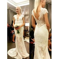 Sheath/Column Lace Short Sleeves V-neck Sweep Train Wedding Dresses