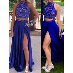 A-Line/Princess Sweep Train Prom Dresses Scoop Neck Satin Sleeveless