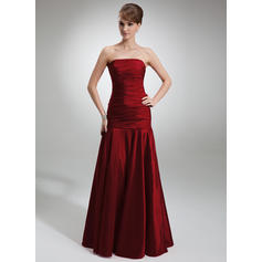 Trumpet/Mermaid Taffeta Bridesmaid Dresses Ruffle Strapless Sleeveless Floor-Length