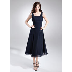 A-Line/Princess Square Neckline Tea-Length Chiffon Bridesmaid Dress With Ruffle (007015675)