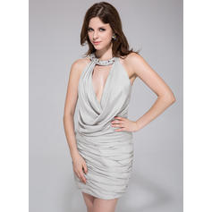 Sheath/Column Halter Short/Mini Jersey Cocktail Dresses With Ruffle Beading