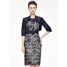 Sheath/Column Scoop Neck Knee-Length Taffeta Lace Mother of the Bride Dress With Bow(s)