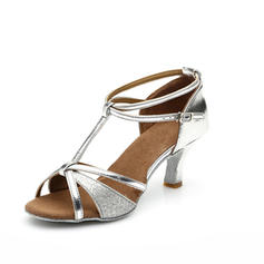 Women's Latin Heels Sandals Leatherette Sparkling Glitter With T-Strap Ankle Strap Dance Shoes