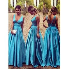 A-Line/Princess V-neck Floor-Length Prom Dresses With Ruffle (018210327)