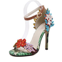 Women's Peep Toe Pumps Sandals Stiletto Heel Leatherette With Flower Wedding Shoes