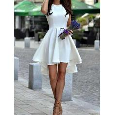 A-Line/Princess Scoop Neck Short/Mini Asymmetrical Cocktail Dresses With Ruffle
