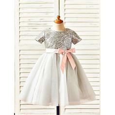 A-Line/Princess Scoop Neck Tea-length With Sash Tulle/Sequined Flower Girl Dresses
