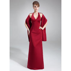Sheath/Column Satin Bridesmaid Dresses Halter Sleeveless Floor-Length (007001453)