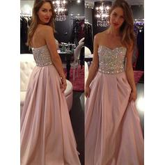 A-Line/Princess Sweetheart Floor-Length Prom Dresses With Beading