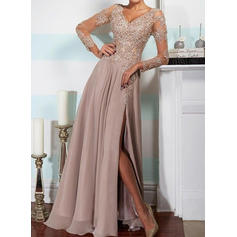 A-Line/Princess V-neck Floor-Length Evening Dresses With Split Front