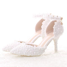 Women's Pumps Sandals Stiletto Heel Patent Leather With Feather Rhinestone Sequin Lace-up Wedding Shoes