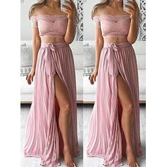 A-Line/Princess Chiffon Prom Dresses Lace Off-the-Shoulder Sleeveless Floor-Length (018210286)