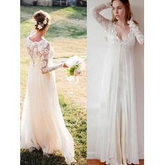 Deep V Neck Empire Wedding Dresses Chiffon Lace Long Sleeves Floor-Length