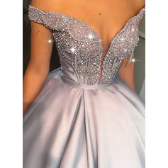 Ball-Gown Off-the-Shoulder Floor-Length Prom Dresses With Beading (018219372)