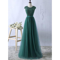 Delicate Tulle Evening Dresses A-Line/Princess Floor-Length Scoop Neck Sleeveless