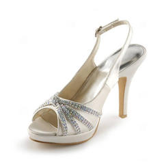 Women's Peep Toe Platform Sandals Slingbacks Cone Heel Satin With Buckle Rhinestone Wedding Shoes