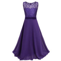 A-Line/Princess Floor-length Flower Girl Dress - Chiffon/Lace Sleeveless Scoop Neck With Lace/Bow(s)