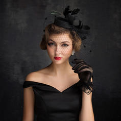 Feather/Net Yarn/Tulle/Linen With Feather Fascinators Eye-catching Ladies' Hats