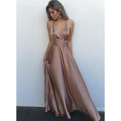 A-Line/Princess V-neck Floor-Length Prom Dresses